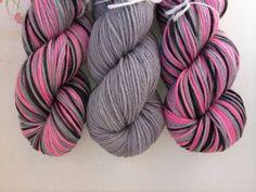 Pretty in Pink inspired hand dyed yarn by DoOrDyeYarns on Etsy, $63.00