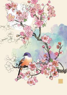 Bug Art Cherry Blossom Bird greetings card - Different Ideas Japanese Painting, Japanese Art, Japanese Blossom, Chinese Painting, Cherry Blossom Drawing, Cherry Blossom Watercolor, Pink Blossom, Bug Art, Art Birthday