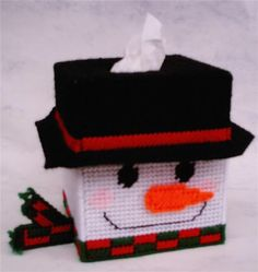 Snowman Tissue Box cover Boutique size MTO by Cathygiftsandthings on Etsy Plastic Canvas Ornaments, Plastic Canvas Tissue Boxes, Plastic Canvas Christmas, Plastic Canvas Crafts, Plastic Canvas Patterns, Plastic Sheets, Canvas Designs, Canvas Ideas, Canvas Bags
