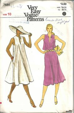Very Easy Vogue 7684; ca. 1981; MISSES DRESS. Loose-fitting, slightly flared, pullover dress, three inches below mid-knee, has wing collar, cut-away