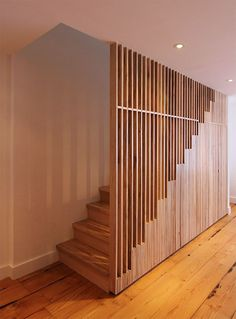 wooden stairs with wooden slat railing, wooden floor : wooden stairs with wooden slat railing, wooden floor Stair Handrail, Staircase Railings, Staircase Design, Staircase Storage, Spiral Staircases, Stair Storage, Banisters, Modern Railing, Modern Stairs
