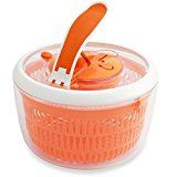 #3: Kuisiware OneSpin Salad Spinner  Premium Salad Spinner with Paddle Mechanism Large 5.2 Quarts Orange