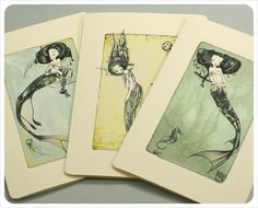 3 Mermaid Cards - Fairy Tale Fantasy Note Cards
