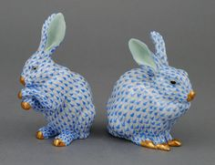 Herend Hand Painted Porcelain Figurines of Two Different Bunnies Blue Fishnet Gold Accents.