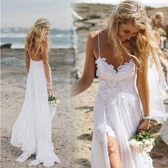 Buy Beach Simple Casual White Tulle A-line Princess V neck Spaghetti Straps Wedding Dresses on https://www.promdress.me.uk/
