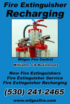 Fire Extinguisher Recharging Williams CA (530) 241-2465.. Local California Businesses you have found the complete source for Fire Protection. Fire Extnguishers, Fire Extinguisher Service.. We're got you covered.. Wilgus Fire Control