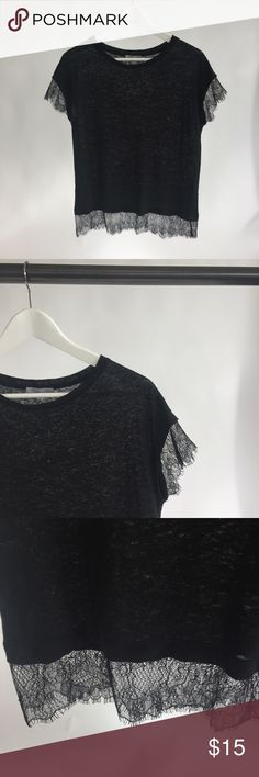 Black linen tee with lace edge details Black linen tee with lace edge details. Looks sheer here but not at all when on! No flaws Zara Tops Tees - Short Sleeve