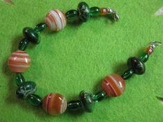 Jasper bracelet, stones of green & orange, sterling silver by las81101 on Etsy