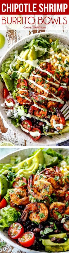30-minute Chipotle Lime Shrimp Burrito Bowls are healthy, quick and easy and loaded with all your favorite burrito fixings including amazingly flavorful, juicy shrimp! via @carlsbadcraving