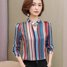 2019 moda imprimir chiffon blusa mulheres camisa de manga longa plus size mulheres tops stripe blusa OL das mulheres de roupas blusas 0092 30 Loja Online Plus Size Women's Tops, Plus Size Blouses, Mode Turban, Blouse Designs, Dress Neck Designs, Neck Designs For Suits, Blouse Outfit, Hijab Outfit, Print Chiffon