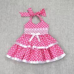 Fishing For Polka Dots-Pink - Diy Crafts Frocks For Girls, Dog Dresses, Toddler Girl Dresses, Little Girl Dresses, Toddler Girls, Baby Frocks Designs, Baby Dress Design, Baby Dress Patterns, Girl Doll Clothes