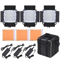 (299.99$)  Buy here - http://aixd7.worlditems.win/all/product.php?id=D4007UK - LED-600A 3 x LED Video Light Panel Kit 576pcs LED Beads CRI90+ 5600K/3200K With Barndoor / Filters / Storage Bag