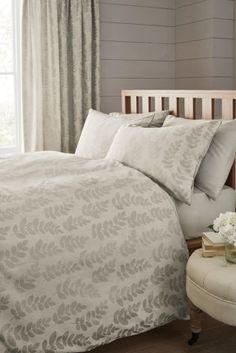 Buy Natural Leaf Jacquard Bed Set from the Next UK online shop Spare Bedroom Decor, Linen Bedroom, Guest Bedrooms, Two Bedroom, Home Bedroom, Linen Bedding, Bed Linen, Spare Room, Bedroom Ideas