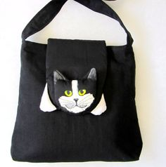 Schultertasche Cat on the Bag Diy Handbag, Diy Purse, Cat Template, Cat Bag, Patchwork Bags, Denim Bag, Cat Pattern, Fabric Bags, Kids Bags