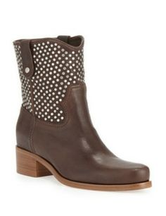 MIU MIU Studded Leather Western Boot