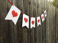 This item is unavailable Valentine Banner, Holiday Banner, Valentine Day Crafts, Valentine Decorations, Love Valentines, Valentine Hearts, Heart Decorations, Decor Crafts, Diy Crafts