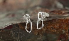 Earrings for girl in love with the rockclimbing Also you can order spare nuts for these earrings: https://www.etsy.com/listing/546710813/replacement-nut-for-our-earrings-with -----------------------Production Details--------------------- Sterling silver (925) Dimensions: size 1.5 х 0.6 (0,59 х