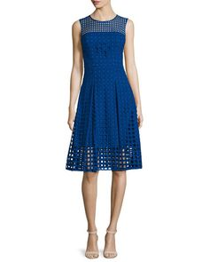 TC2AL Milly Sleeveless Square-Eyelet Cotton Dress, Cobalt
