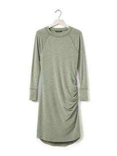 Shirred Knit Dress | Banana Republic,   I would take Petite small I think  or XS  . It is on sale for $80