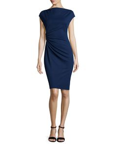 Cap sleeve notch neck side ruched jacquard dress cap sleeve notch