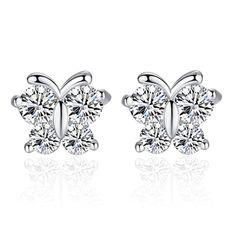 Fashion Hot Sale 2017 New Design Shiny Butterfly Zircon 925 Sterling Silver Stud Earrings for Women Girls Jewelry gift wholesale