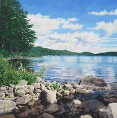 Nice submerged rocks and water texture (Alan Sanborn watercolor)