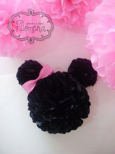 Pompones papel de seda - Medio pompón con forma,para cumple temático Minnie Mouse