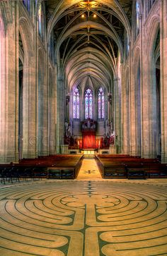 The inside of Grace Cathedral in San Francisco, California. This is a  very beautiful and massive church. The inside of the church is so  amazing, it really makes you feel tiny
