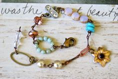 Anna. bohenianbeadedcharm bracelet. by tiedupmemories on Etsy, $32.00