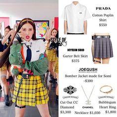 Korean Fashion Trends, Kpop Fashion, Fashion Outfits, Jeon Somi, Stage Outfits, Kpop Outfits, Skirt Belt, Asian Style, Poplin