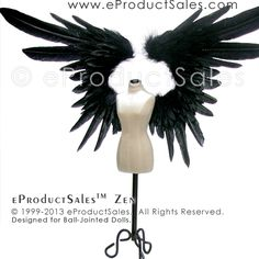 eProductSales Original Black ZEN BJD Feather Angel Wings designed for Ball-Jointed Dolls
