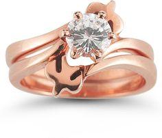 Holy Spirit Dove Diamond Bridal Engagement Ring Set, 14K Rose Gold