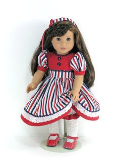 American Girl Doll Clothes  July 4th Doll Dress by LidiDesigns