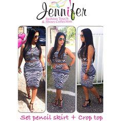Amazing set pencil skirt + Crop Top  Color Black /White  Manatí 787365-9010 Dorado 787994-0042 para pedidos envía Texto al 787224-3434!!
