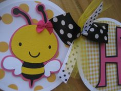 bee party banner - yellow black pink.