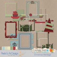 #PixelsAndArtDesign - Christmas Heritage Clusters 02 Vintage look for this Christmas Heritage kit, full of traditional green and red but muted, associated with a light blue and two raw whites.  This kit includes :  - 8 cluster frames.          Caroline's Slidely by  Slidely Slideshow        Buy Now http://www.pixelsandartdesign.com/store/index.php?main_page=product_info&products_id=1877