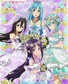 Sword Art Online Bride collection [ Yuuki, Asuna, Sinon and. Sword Art Online Asuna, Arte Online, Kunst Online, Anime Kunst, Anime Art, Asada Shino, Kirito Asuna, Leafa Sao, Kirito Kirigaya