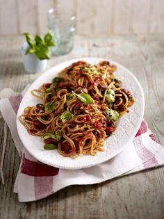 Unser beliebtes Rezept für Spaghetti all' Amatriciana mit Mozzarella-Pesto-Bällchen und mehr als 55.000 weitere kostenlose Rezepte auf LECKER.de.