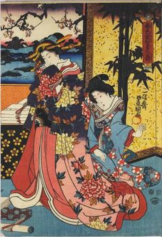 Sheet from a colour woodblock triptych print entitled Shunshoku yakata no kotobuki (Congratulations to the Household in New Year Colours), depicting Prince Genji and ladies on a verandah overlooking a lake, inspecting New Year's gifts: Japan, by Utagawa Kunisada, c. 1851