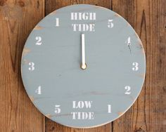 "Blue and White Driftwood Tide Clock (Round 10"" Diameter) by ReclaimedTime on Etsy"