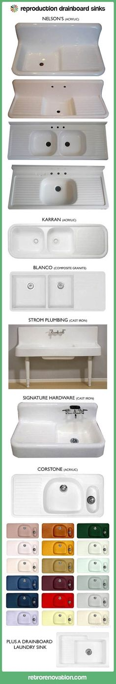 Five new options for farmhouse kitchen drainboard sinks -- including a design with 36 colors! - Retro Renovation