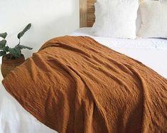 Orange duvet cover king   Etsy Laine Chunky, Mustard Bedding, Orange Duvet Covers, Cotton Throws, Woven Cotton, Modern Bedroom Design, Modern Decor, New Room, Home Textile