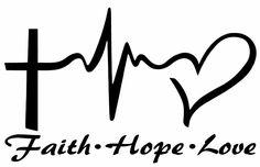 "FAITH HOPE LOVE Vinyl Decal Sticker Car Window Wall Bumper Symbol Heart Cross 8"" #Oracal"