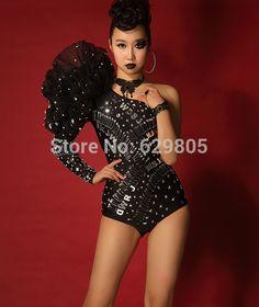 Ein Stück Pailletten Body Kostüm Sängerin ds führen Tänzerin Kleidung Schulter Pin dicht Bühne schwarze Kleid