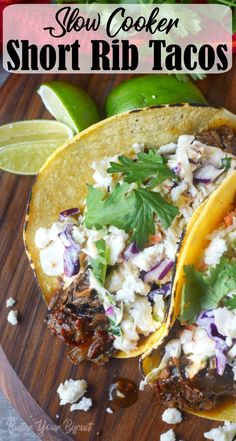 Short rib tacos are juicy and loaded with flavor. Cooked low and slow then piled on a tortilla with a creamy chipotle slaw. #tacos #chipotle #shortribtacos Short Ribs Slow Cooker, Beef Short Ribs, Slow Cooker Beef, Pork Ribs, Slow Cooker Recipes, Crockpot Recipes, Cooking Recipes, Cooking Tips, Pulled Pork