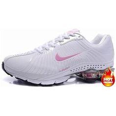 www.asneakers4u.com Womens Nike Shox R4 White Pink Lether