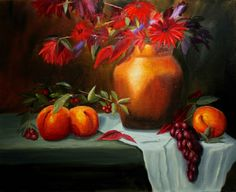 """Red Leaves 16""""X20"""" Oil on Canvas"""