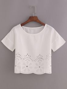 SheIn offers Laser-Cut Loose Fit Top & more to fit your fashionable needs. Short Sleeve Collared Shirts, White Short Sleeve Shirt, Long Sleeve Crop Top, Crop Top Und Shorts, Crop Shirt, T Shirt, Loose Fitting Tops, Loose Tops, Cut Loose