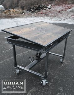 Santa please bring this for me!  Industrial Adjustable Drafting Table by urbanwoodandsteel on Etsy