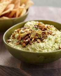 Goat Cheese-Edamame Dip with Spiced Pepitas Recipe on Food & Wine